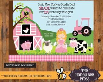 Farm Princess birthday - Princess at the Farm birthay invitation - 1st, 2nd, 3rd, 4th, 5th, 6th Birthday invite - Item 0139