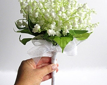 Bridal Bouquet - Faux Bouquet - Artificial Bouquet - Lily Of The Valley Bouquet - White and Green Bouquet - Matching Boutonniere Included