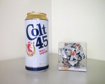 Colt 45 Malt Liquor Can Origami Ornament.  Upcycled Recycled Repurposed Art