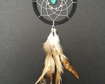 Dream Catcher for Car Mirror- Black and White with Turquoise, Mini Dreamcatcher, Small Dreamcatcher, Boho Dreamcatcher, Car Decor