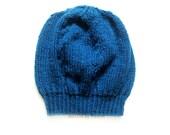 Blue Knit Beret, Boho Beanie, Winter Hat