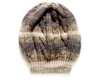 Beige Knit Beret, Slouchy Beanie, Beanie Hat, Boho Hat