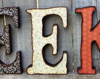 Halloween Decor EEK letters, Halloween Decor Chunky Wood EEK Letters with Dangling Spider, Halloween EEK Wood Letters and Spider