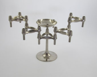 Set of 5 nagel Candle holders plus base plus bowl designed by Ceasar Stoffi and Fritz Nagel and manufactured by BMF