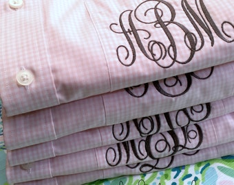 Monogram Gingham Bride  Bridesmaid Shirt - Monogrammed Bridesmaid Shirts - Gingham Bridal Party Shirts - Boyfriend Shirts - Bridesmaid Gifts