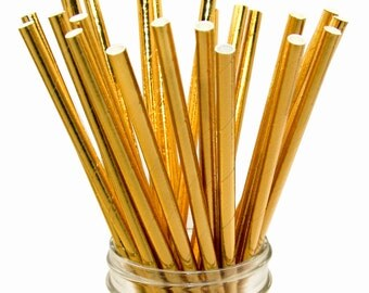 Gold Foil Paper Straws, Wedding Straws, Golden Paper Straws, Gold Straws
