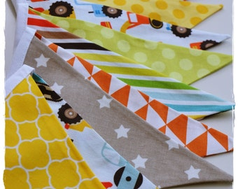 Digger Garland, Boy Garland, Bunting Banner, Boy Nursery Decor, Photo Prop, Baby Shower, Fabric Flags - Yellow, Orange, Tan