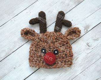 Newborn baby reindeer hat, newborn christmas hat, christmas photo prop, newborn christmas outfit, reindeer hat, newborn baby hat, baby hat