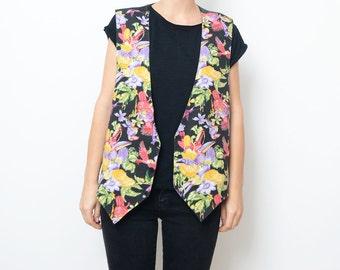 Vintage black tropical floral parrot vest