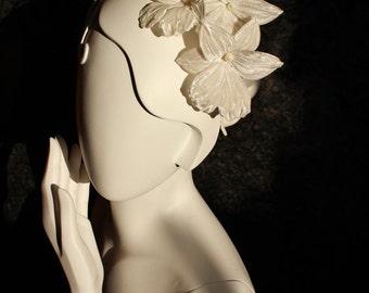 READY to SHIP bridal floral headpiece, silk orchid fascinator, silk flower headband, silk floral hairpiece, white orchid wedding
