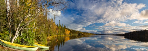 Nature decor, panorama landscape wall art, 2 photo prints lake, mirror water, autumn, blue sky, gift for traveler nature lover, Lapland