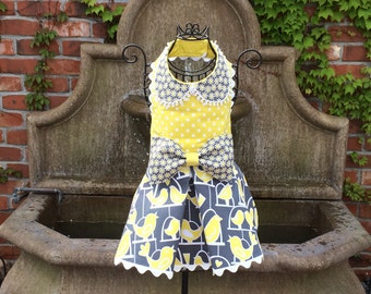 SPRING:  Citron & Gray Love Birds Dog Dress