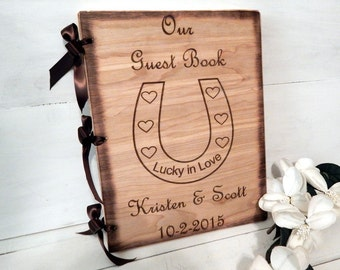 Wedding Guest Book, Rustic Chic Wedding, Guest Book or Words of Wisdom Book, Personalized with Horse Shoe