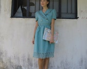 Vintage 40s Style Dress/Small/Teal Blue Green/Eyelet Lace/Classic/Romantic/Ruffles/The Notebook/The Age of Adaline