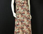 Casual summer dress Colorfull floral dress Vintage 90s grunge midi dress Boho rayon dress Flowers short sleeve romantic Women clothing S M