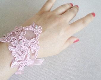 Lace Bracelet, Bridal Bracelet, wedding ideas, Wedding Bracelet, Cuff, Rose Pink Bracelet, Bridal Jewelry. Handmade Gifts