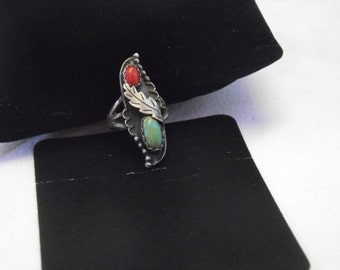Beautiful Sterling Turquoise and Coral Ring  Size 5.75