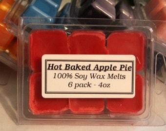 Hot Baked Apple Pie Tart Melts - 6 pack of break away tarts - 100% Soy Wax - 4oz in wax