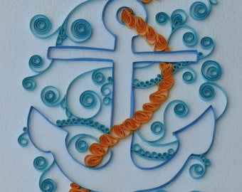 Quilled Paper: Blue Anchor