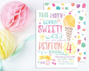 Ice Cream Invitations - Ice Cream Party / Ice Cream Social / Birthday Invitations