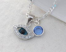 Evil Eye Necklace and birthstone, Sterling silver Blue Eye Necklace. protection evil eye necklace, Pick Charm and Chain. Celebrity Jewelry