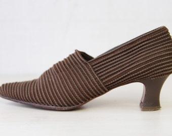 BOCAGE Paris brown textile elastic librarian mid high heel closed autumn shoes size 7.5