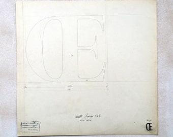 Ligature OE, original font casting drawing, typographic drawing, type design, typography. 1932.