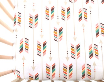 Crib Sheet Colorful Arrows on White. Fitted Crib Sheet. Baby Bedding. Crib Bedding. Minky Crib Sheet. Crib Sheets. Arrow Crib Sheet.