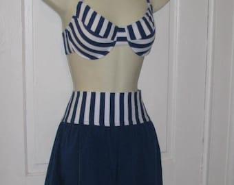 90's SUN STREAK BIKINI // Vintage Blue White Striped High Waisted Swimsuit Shirts Size 8 Festival Rave Beach Summer Vacation Underwire