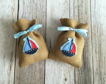 10 boat baby shower burlap favor bags, boat favor bag, baby girl, baby boy.
