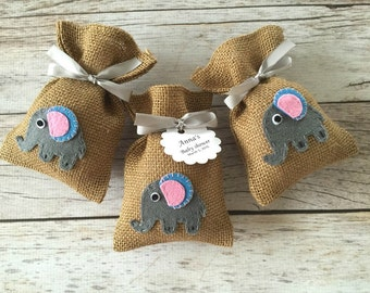 10 elephant baby shower burlap favor bags, baby girl, baby boy.