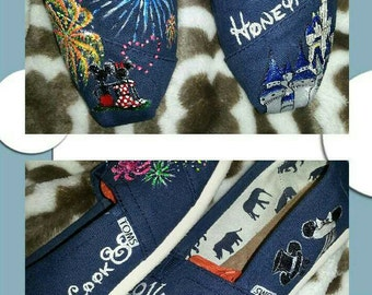 Disney Inspired Honeymoon Custom Hand Painted Toms Shoes
