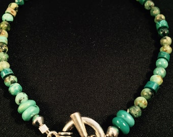 Bracelet: Turquoise and Pewter for Wrist/Ankle