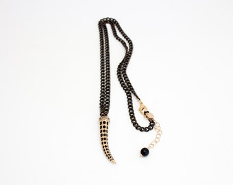 Gold & Gunmetal Chain Necklace