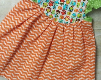 Green and Orange Owl Bohemian Boho Peasant Dress - Size 6-12 Month - Flutter Sleeve Dress - Baby Dress - Butterfly Baby Dress