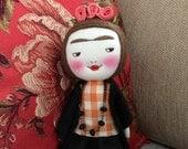 Reserved listing for Ruth - Frida Kahlo handmade smiling doll