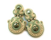 Clip on earrings - Soutache clip on earrings - Pyrite earrings - Statement earrings - Birthday gift for wife - Birthday gift for girlfriend
