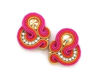 Soutache earrings - Birthday gift for wife - Wholesale jewelry - Statement clip on earrings - Bridesmaids earrings - Boucles d'oreilles clip