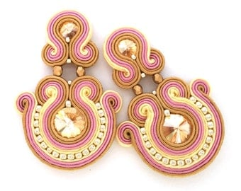 Soutache earrings - post earrings - neutral earrings - gift for sister - christmas gift for wife - wholesale jewelry - pink bridal jewelry