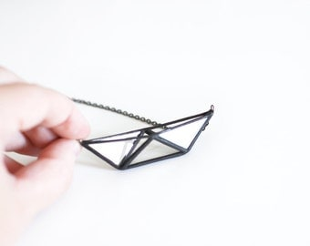 Boat   . Stained glass origami boat necklace. Paper boat. Contemporary Jewelry. Geometric necklace. Glass origami necklace. Origami necklace