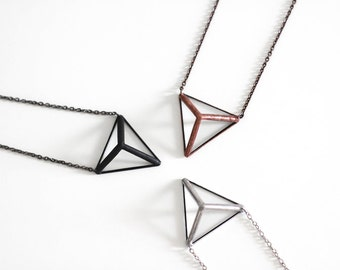 Pyramid  . Stained glass prism necklace. Triangle necklace. Contemporary Jewelry. Geometric nacklace. Glass minimalist necklace