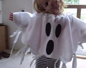 "Felt Costume Ghost Poncho Child sizes 23"" through 34"" arm span Easy fit Halloween Fun Cool Costume Adult sizes also available Handmade USA"