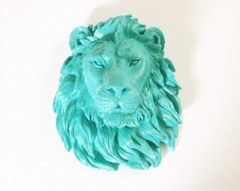 CARIBBEAN BLUE Large Faux Taxidermy Lion Head wall mount wall hanging in caribbean blue // nursery decor // fake lion head // office