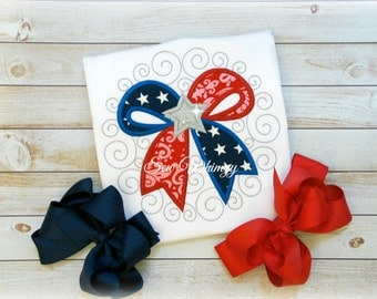 4th of July shirt- Patriotic bow shirt- Girl's 4th of July Applique Shirt- Red White and Blue- USA shirt- Fourth Of July Shirt- Summer Girl