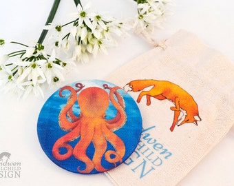 Octopus Fabric Pocket Mirror, Cosmetic Mirror, Makeup Mirror, Gifts for Women, Fabric Covered Mirror