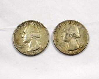 Two (2) United States Quarter Dollars 1963 D 1964 D