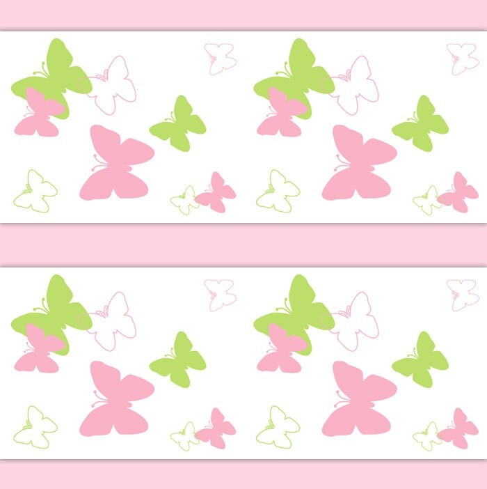 Pink And Green Wall Decor For Nursery : Butterfly wings nursery decor wallpaper border pink green wall