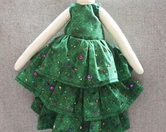 2015 PRICES!  Christmas Tree Dress Ragdoll, Mary Christmas, Merry Christmas, Christmas Tree, Sequin dress, Green, Handmade, doll