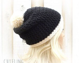 Womens hat trendy Pompom hat Chunky crochet beanie Slouch hat Black and white Winter hat Warm slouchy hat 'AMSTERDAM'