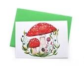 Mushroom Postcard, Greeting Card, Christmas Postcard, Mushroom Print, Watercolor Postcard